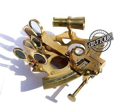"Valentine Nautical Sextant Ship Instrument Astrolabe Marine Brass Sextant 6"" 2"