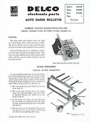 Delco 1956 1957 Chevy Corvette Wonderbar Radio Service Info and Parts Bulletin