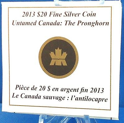 2013 $20 Pronghorn Antelope 1 oz Pure Silver Only 4,181 Sold Untamed Canada #2