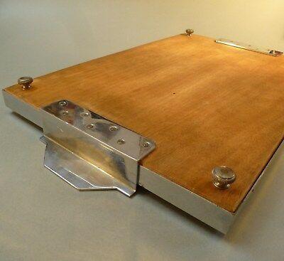 Original Art Deco Servier Tablett Metall Chrom Spiegel groß 46cm x 27cm um 1930 8