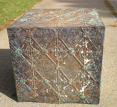WoW! Primitive Hand Tooled Antique Victorian Ceiling Tin Tile Table Cottage Chic