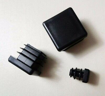 Square Plastic End Caps Blanking Plugs Box Section /Tube Inserts / Black 7