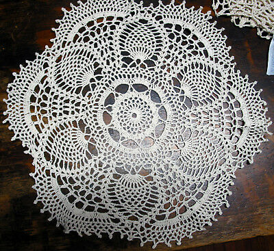 "lot of 14 Hand Crochet Doilies 5""-7""-14"" Wht & Natur VTG Wedding Tea Party NEW 5"