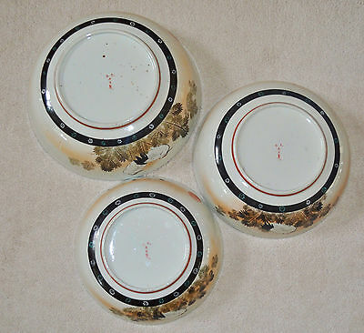Superb Set of 3 Large Kutani Graduated Porcelain Bowls Hand Painted Meiji Period 4