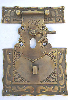 """4 box Latch catch solid brass furniture antiques doors kitchen old style 3"""" B 5"""