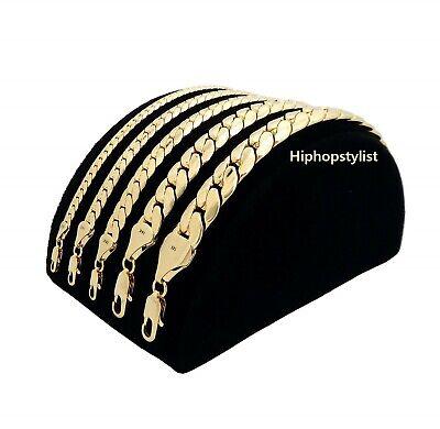 Mens Miami Cuban link Chain Necklace Bracelet 14K Gold Plated 4