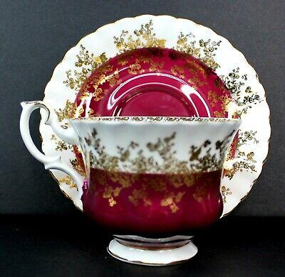 Royal Albert Regal Series Burgundy Footed Cup & Saucer Bone China 4396 Mint 3