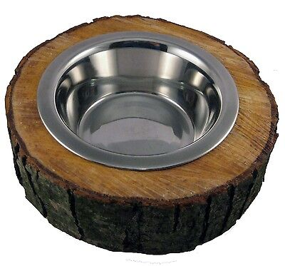 2er Set Hunde Katze Futternapf Freßnapf Wassernapf Baumscheibe Holz Edelstahl 2
