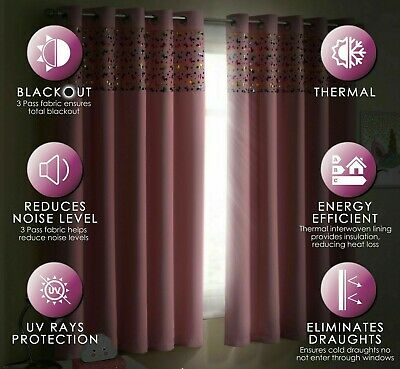 Childrens Thermal Blackout Unicorn Sparkle Shimmer Eyelet Ring Top Curtains Pair 2