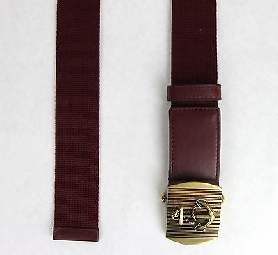 291d0a35731 ... New Gucci Men s Burgundy Fabric Belt Military Anchor Brass Buckle 375191  6148 3