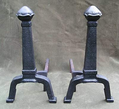 Vintage Antique Arts & Crafts Hammered Iron Andirons Fireplace 2