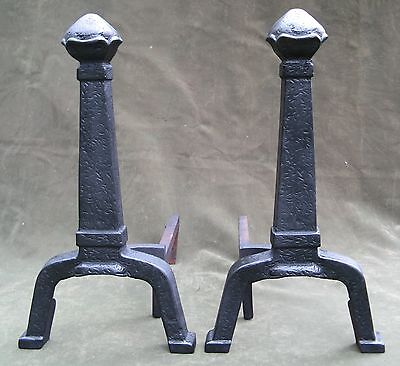 Vintage Antique Arts & Crafts Hammered Iron Andirons Fireplace 5