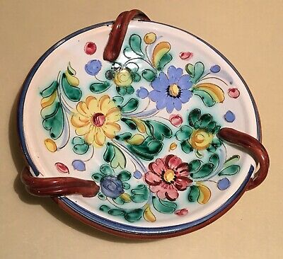 Stunning Antique / Vintage Hand Crafted & Painted Italian Centerpiece Dish 25 cm 2