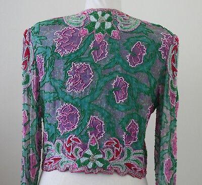 Jasdee Vintage Beaded Bolero Jacket Hand Work Hand Print On Silk Style 3071 3