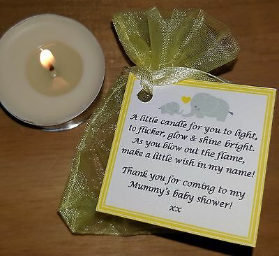 Baby Shower Candle Tea Light Favours Blue Pink Yellow Guest Thank You Gifts 6