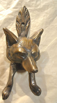 2 small FOX head old heavy front Door Knocker SOLID BRASS vintage old style B 5