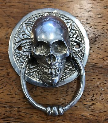 SKULL head ring pull Handle pure BRASS silver 7.5 cm day of the dead cabinet B 2