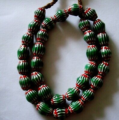 "20"" 32 Bead Antique Phoenician Green, White,Red Six Layer Chevron Glass Necklace 9"