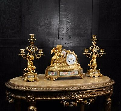 Japy Freres ~ Early French Ormolu And Sevres Porcelain Clock Set C1850 ~ Cherubs 3