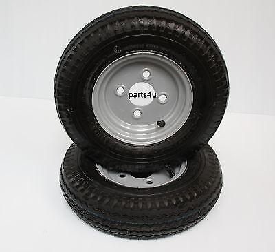 2 Stück Komplettrad 4.80 / 4.00-8 62M 8-Zoll Anhänger Rad Reifen Felge Kenda 2