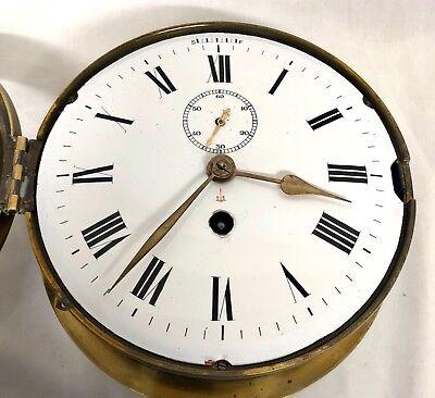 Antique Ships Marine Bulkhead Bulk Head Brass Cased Ships Clock ENAMEL DIAL 5