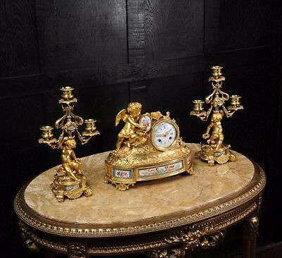 Japy Freres ~ Early French Ormolu And Sevres Porcelain Clock Set C1850 ~ Cherubs 4