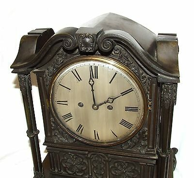 Antique Gothic BRONZE Twin Double Fusee Bracket Mantel Clock CLEANED & SERVICED 5