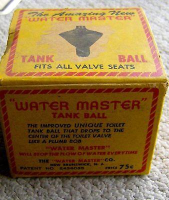 RARE antique vintage WATER MASTER toilet TANK BALL 1920s ORIGINAL PACKAGING old 2