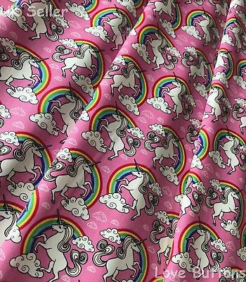 LOVELY ROSE /& HUBBLE PINK UNICORN AND RAINBOW FABRIC 100/% COTTON PER METRE