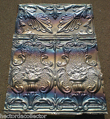 SALE! Antique Victorian Ceiling Tin Tile Flowers Torch Chic Cottage Cabinet Door 4