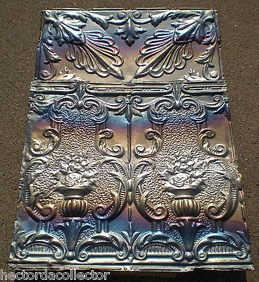 SALE! Antique Victorian Ceiling Tin Tile Flowers Torch Chic Cottage Cabinet Door 4