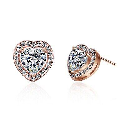 Heart Crystal Stone Stud Earrings 925 Sterling Silver Womens Girl Jewellery Gift 3