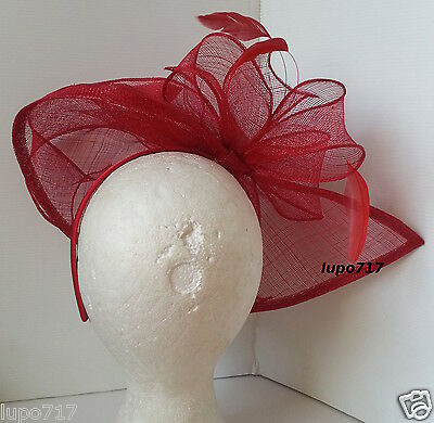 Red Sinamay Feathers Hat Fascinator Wedding Ascot Race Hen Party Ladies Day New 4