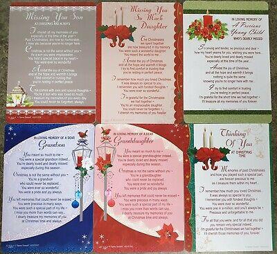 GRAVE MEMORIAL CARDS - Plastic Weatherproof - Various Relations & Christmas 10