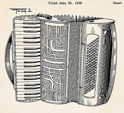Accordion Designed For Hohner 1938 Patent Drawing Art Poster