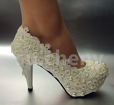 """su.cheny 3/"""" 4/"""" light ivory lace crystal Wedding Bridal pumps high heels shoes"""