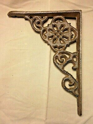 "SET of 2 ANTIQUE BRONZE VICTORIAN FLORAL STYLE cast iron brace bracket corbel 6"" 5"
