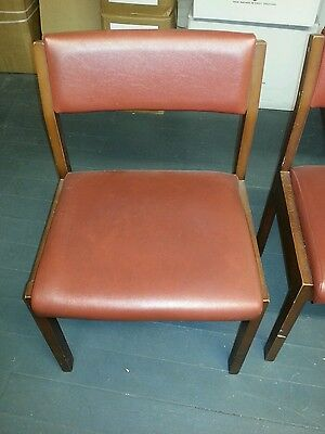 4 x Red leatther Chairs 3