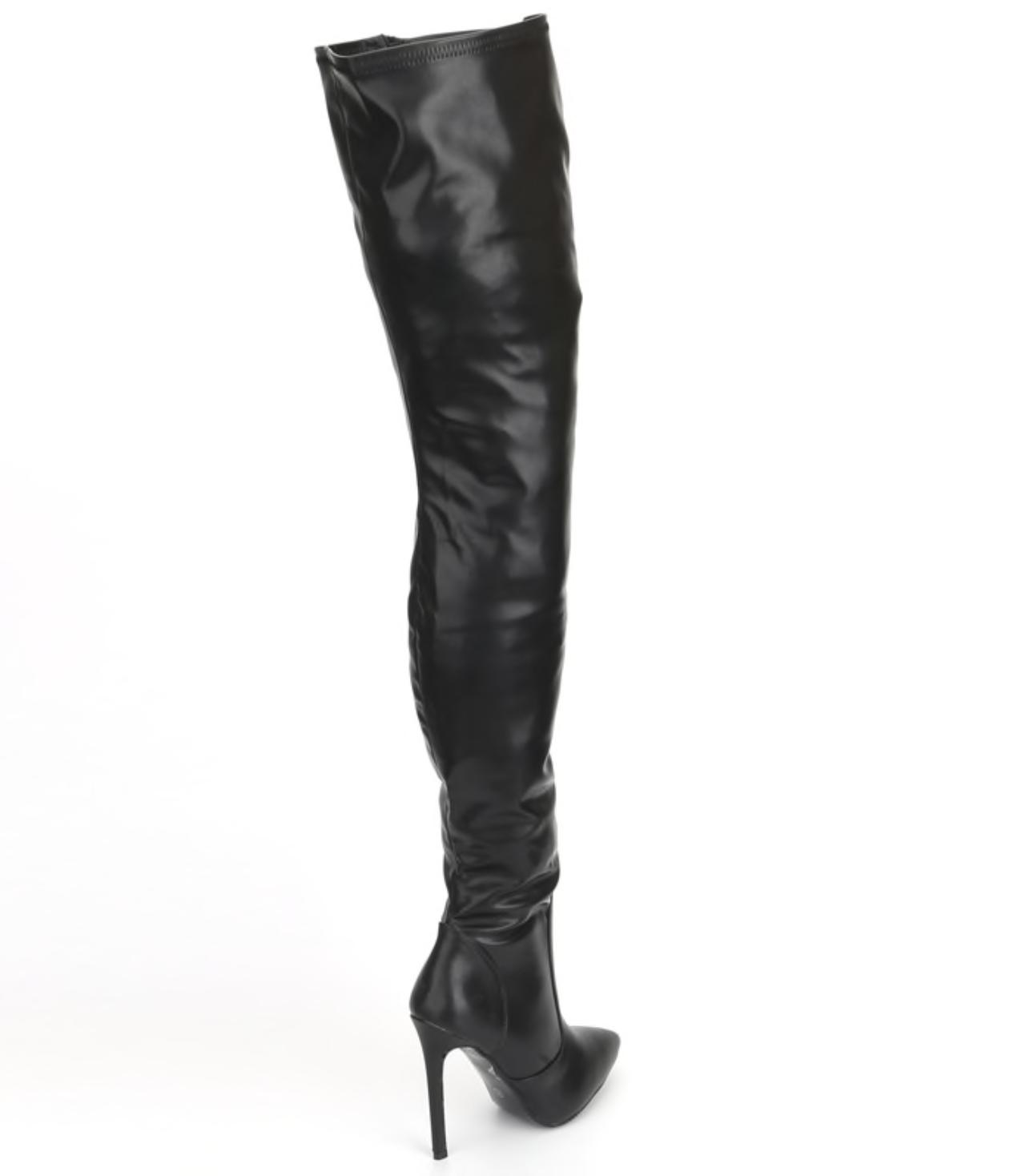 "Extreme thigh high heel stiletto fetish patent 12cm 4.5"" boots UK3-13 3"