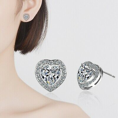 Heart Crystal Stone Stud Earrings 925 Sterling Silver Womens Girl Jewellery Gift 4