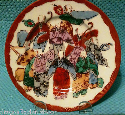 Japanese Fine Porcelain Decorative 6 Inch Plate Hand Painted Immortals Signed