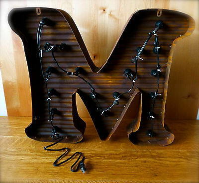 "LARGE VINTAGE STYLE LIGHT UP MARQUEE LETTER M, 24"" TALL industrial rustic sign 5"