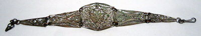 ANTIQUE 1800s.COPPER  BRACELET in 5 PARTS,AMAZING FILIGREE W/ SILVERED # 37 8
