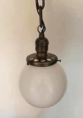 "21"" Long Brass Pendant Light With Beautiful Milk White Globe Hubbell Socket 2"