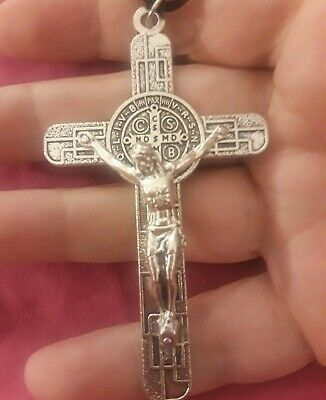 "LRG 3 1/8"" Sterling Silver Filled Modern St Benedict Crucifix Cross New Pendant 8"