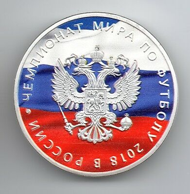 World Cup Russia 2018 Silver Coin Kremlin Moscow Gem Stone Red White Blue Flag 7