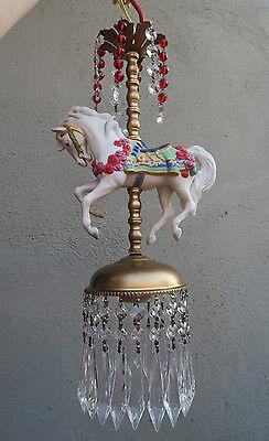 1 Porcelain Horse Carousel Lamp SWAG kids room Chandelier Vintage Crystal Rose 7