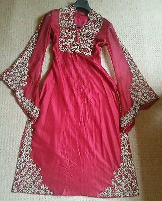 Deep red / Burgundy Silk  Heavy Jewelled Diamante work long kameez/pajama suit 6
