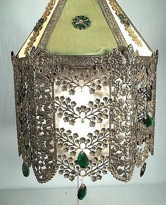 A WONDERFUL EARLY 20th CENTURY 6 SIDED PIERCED TIN FLORAL DECORATED CHANDELIER 3