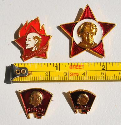 4pcs. RUSSIAN SOVIET USSR PIONEER VLKSM PIN MEDAL ORDER RED STAR AWARD BADGE WAR 9